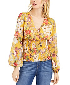 INC Floral Smocked Blouse, Created for Macy's