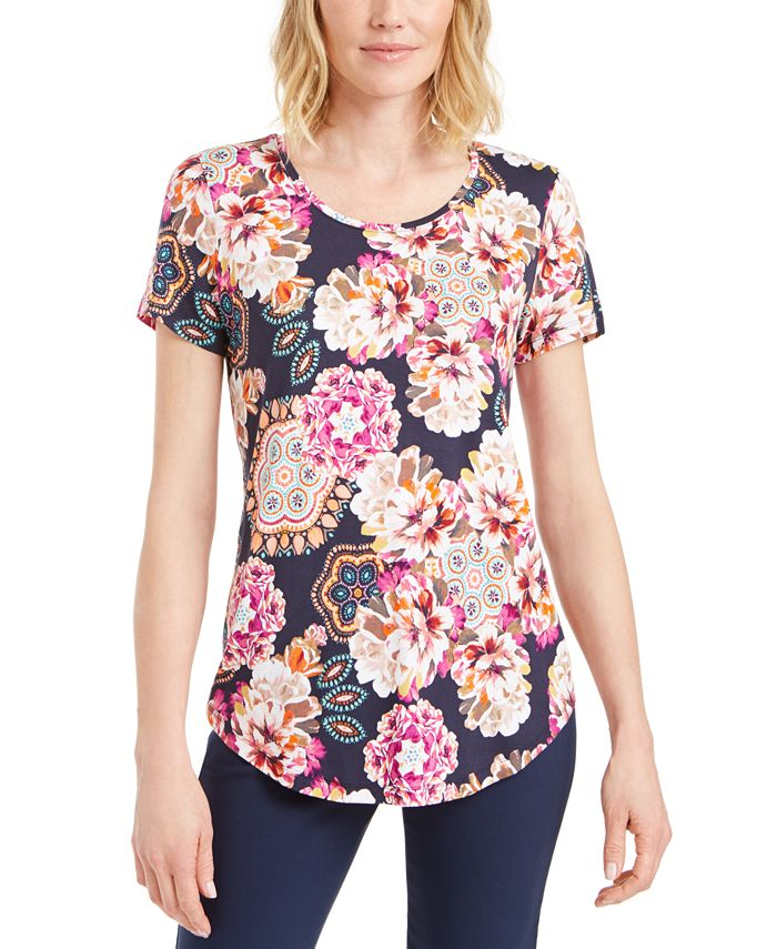 JM Collection - Floral-Print Scoop-Neck T-Shirt