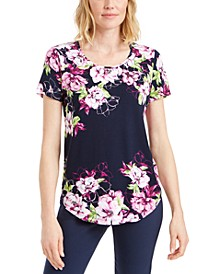 Floral-Print Scoop-Neck T-Shirt, Created for Macy's