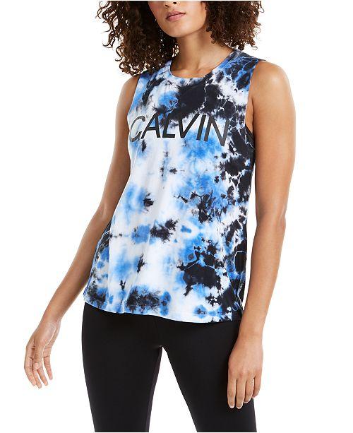 Calvin Klein Logo Tie-Dyed Tank Top