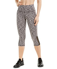Space-Dyed Mesh-Inset Cropped Leggings, Created for Macy's