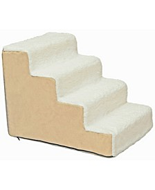 High Density Foam Sherpa 4 Steps Pet Stairs