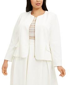 Plus Size Zip-Front Scuba Jacket