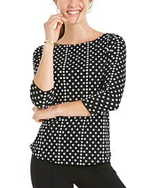 Petite Cotton Dot-Print Top, Created for Macy's