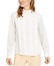 Mock-Neck Pleated Blouse