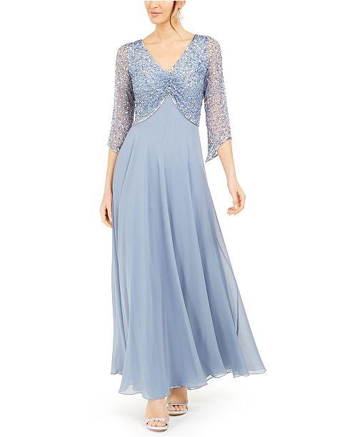 J Kara Embellished 3/4-Sleeve Gown