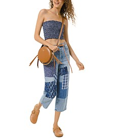 Cotton Patchwork Boyfriend Jeans