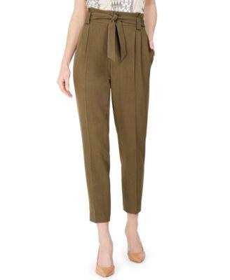 Pleated Slim-Leg Ankle Pants