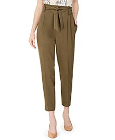 Pleated Slim-Leg Ankle Pants