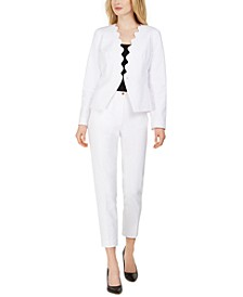 Snap-Front Scalloped Jacket & Slim-Leg Dress Pants