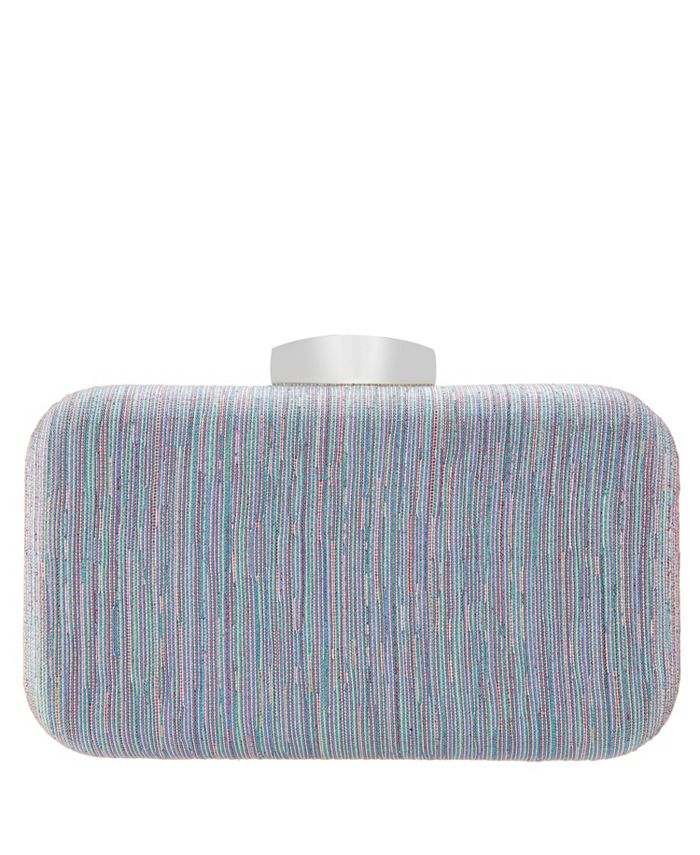 Nina - Elaine Metallic Striped Minaudiere