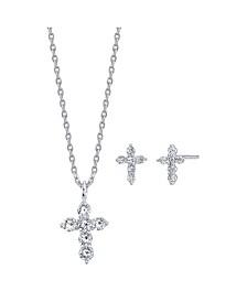 2-Pc. Set Cubic Zirconia Mini Cross Necklace & Stud Earrings in Fine Silver-Plate, Created for Macy's