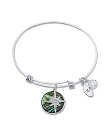 """Journey"" Cubic Zirconia and Genuine Abalone Adjustable Bangle Bracelet in Stainless Steel"