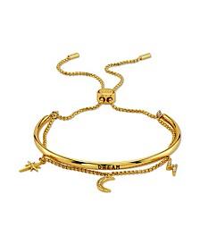 """Dream"" Cubic Zirconia Ajdustable Bolo Gold Tone Fine Plated Silver Bracelet"