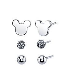Unwritten Three Pair Silver Plated Mickey Mouse Earring Set with Silver Bead and Crystal Ball