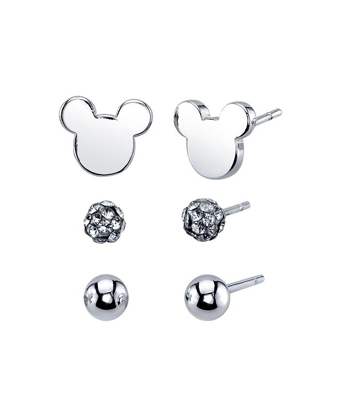Disney - Three Pair Silver Plated Mickey Mouse Earring Set with Silver Bead and Crystal Ball