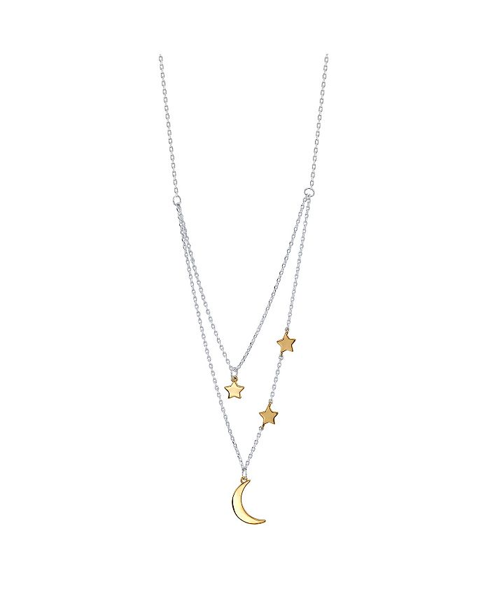 Unwritten - Two-Tone Moon and Star Layer Pendant Necklace