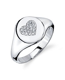 Silver Plated Cubic Zirconia Heart Signet Ring