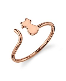 Silver Plated Rose Gold Cat Ring
