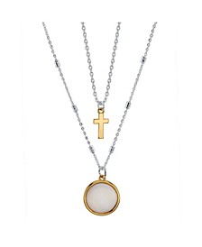 Two-Tone Fine Plated Silver Mother Of Pearl and Cross Layer Necklace