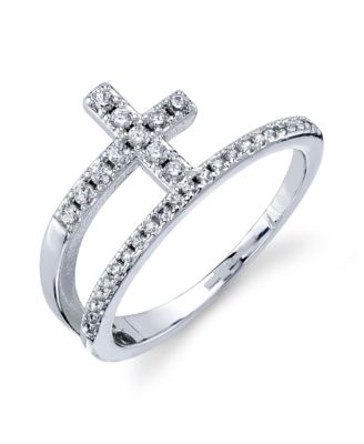 Size 3 Jewelry Pilot Sterling Silver Rhodium Plated Childs Polished Cross Ring