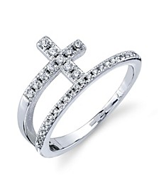 Silver Plated CZ Cross Wrap Around Ring