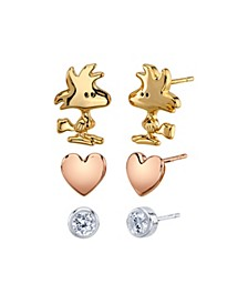 Unwritten Three Pair Silver Plated Woodstock Earring Set with Heart and Bezel Cubic Zirconia Stud