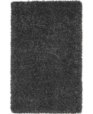 "Cali Shag CAL01 Charcoal 2'6"" x 4' Area Rug"