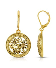 Gold-Tone Dipped Round Floral Drop Earrings