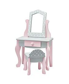 """Polka Dots Princess 18"""" Doll Vanity Table Set"""