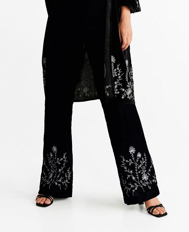 MANGO Embroidered Velvet Trousers