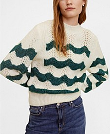 Striped Openwork Knit Sweater