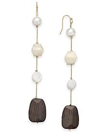 INC Gold-Tone Imitation Pearl & Wood Linear Drop Earrings, Created for Macy's