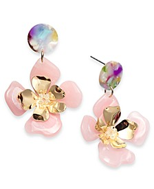 INC Gold-Tone Large Flower Drop Earrings, Created for Macy's
