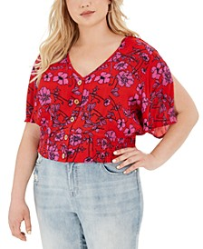 Trendy Plus Size Floral-Print Cropped Blouse