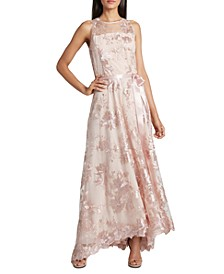 Embroidered-Sequin Gown