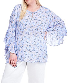 Plus Size Floral-Print Flutter-Sleeve Top