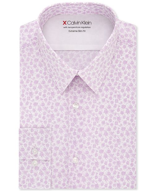 Calvin Klein Men's Extra-Slim Fit Temperature-Regulating Performance Stretch Abstract-Print Dress Shirt