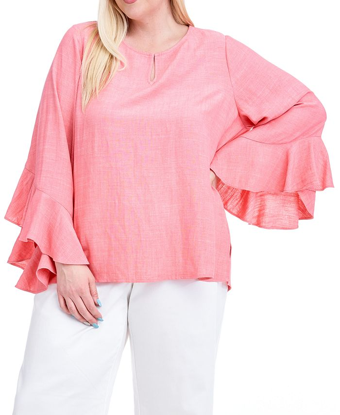 Fever - Plus Size Ruffle-Sleeve Top