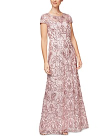Embroidered-Sequin Gown, Created for Macy's