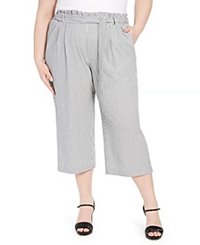 Plus Size Striped Ruffle-Waist Belted Capri Pants