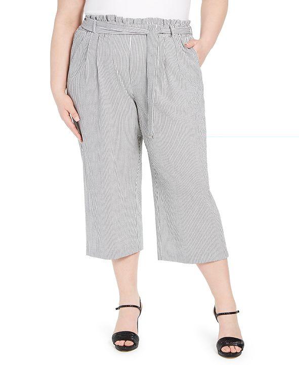 Calvin Klein Plus Size Striped Ruffle-Waist Belted Pants