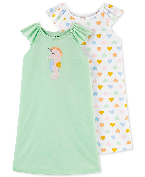 Carter's Little & Big Girls 2-Pack Seahorse & Hearts Nightgowns Set
