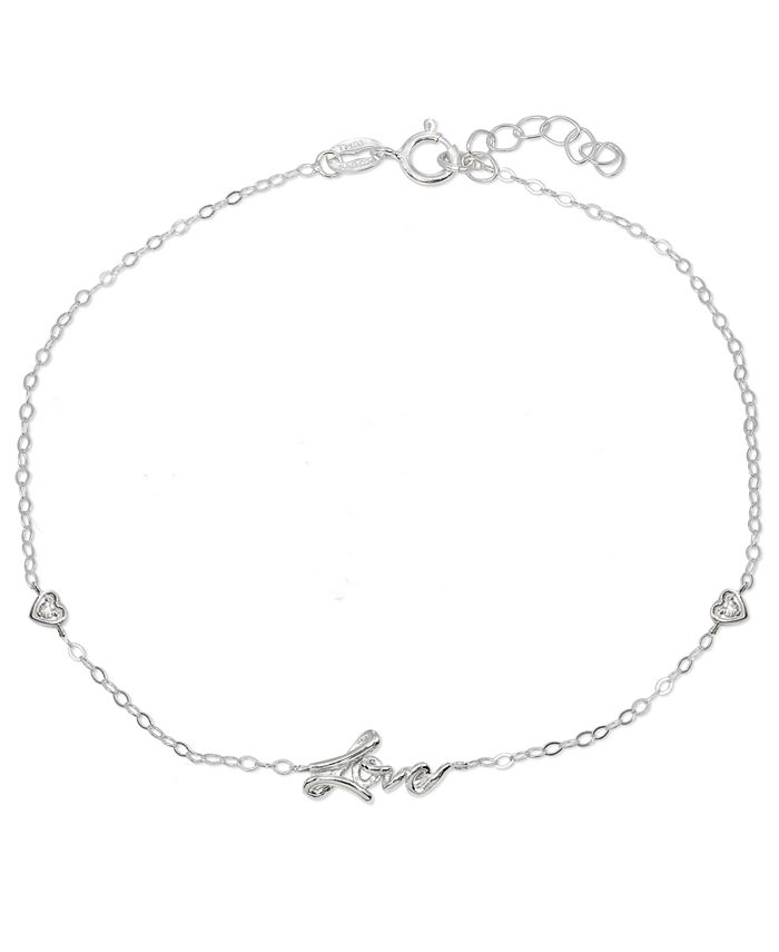 """Giani Bernini - Cubic Zirconia """"Love"""" Ankle Bracelet in Sterling Silver or Two Tone Sterling Silver & 18K Gold-Plated Sterling Silver"""