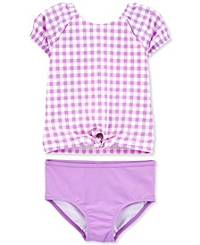 Baby Girls 2-Pc. Purple Gingham Rash Guard Set