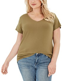 Planet Gold Trendy Plus Size Fitted V-Neck T-Shirt