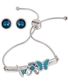 Silver-Tone Butterfly Slider Bracelet & Crystal Stud Earrings Set