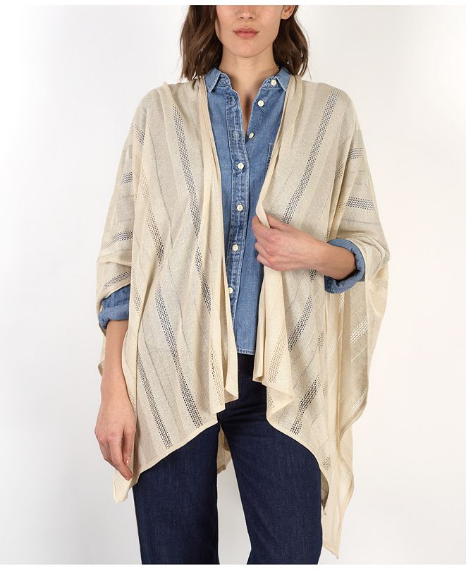 Lauren Ralph Lauren Sparkle Textured Stripe Ruana
