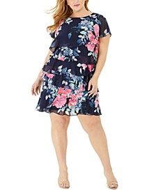 Plus Size Floral Tiered A-Line Dress