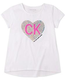 Big Girls Cotton Flip-Sequins Heart T-Shirt
